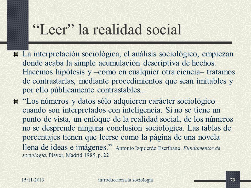 Leer la realidad social