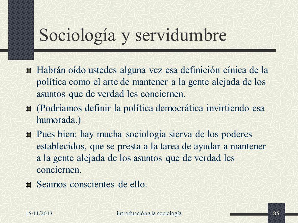 Sociología y servidumbre