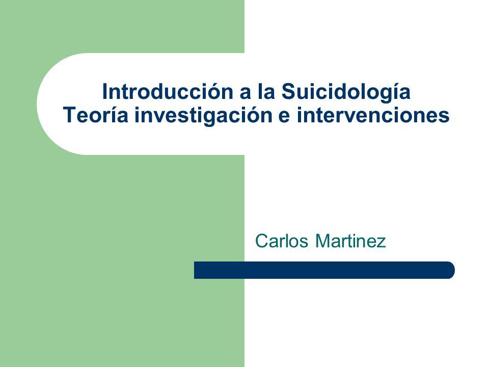 Introducción a la Suicidología Teoría investigación e intervenciones