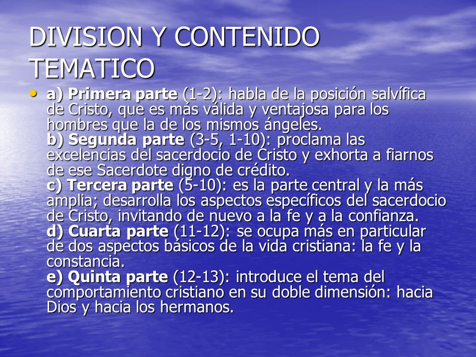DIVISION Y CONTENIDO TEMATICO