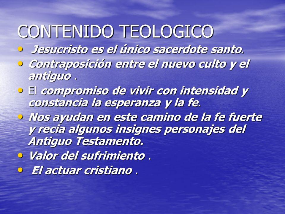 CONTENIDO TEOLOGICO Jesucristo es el único sacerdote santo.