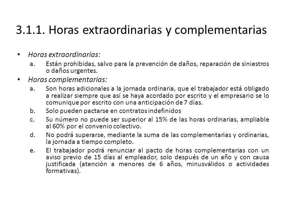 3.1.1. Horas extraordinarias y complementarias