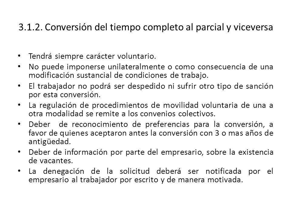 3.1.2. Conversión del tiempo completo al parcial y viceversa