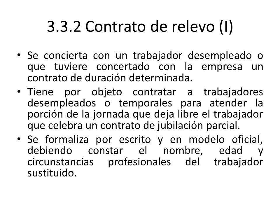 3.3.2 Contrato de relevo (I)Se concierta con un trabajador desempleado o que tuviere concertado con la empresa un contrato de duración determinada.