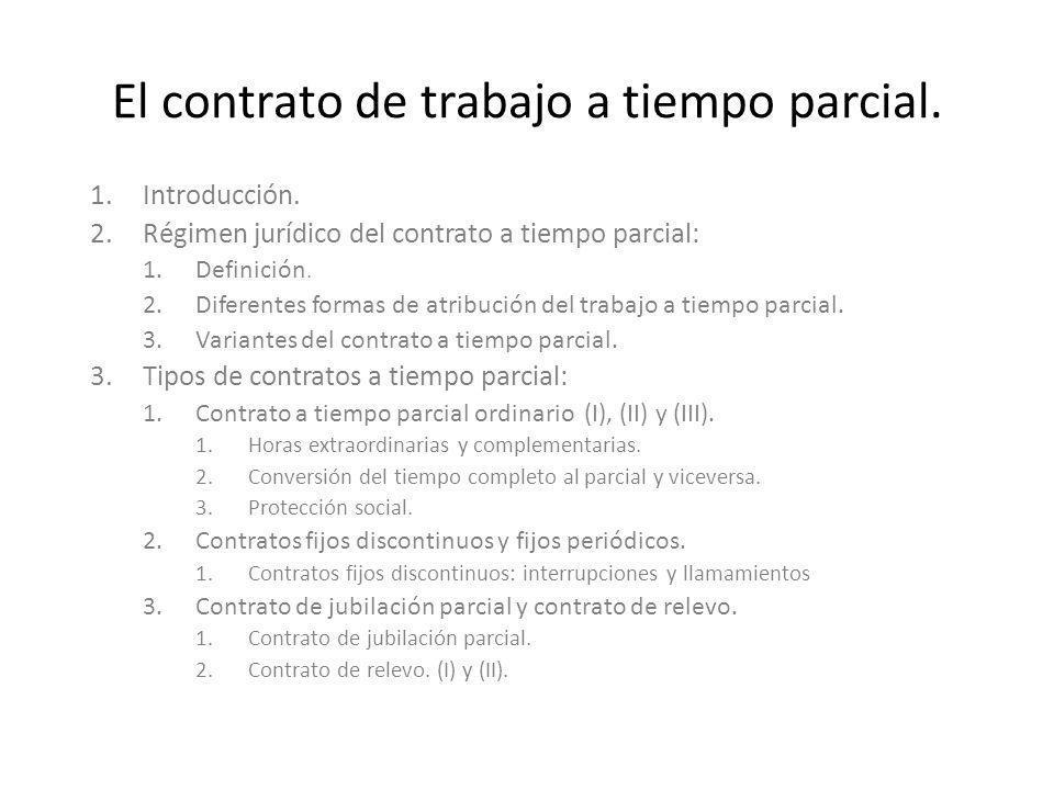 El contrato de trabajo a tiempo parcial.