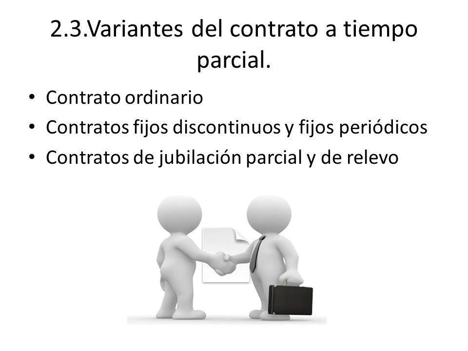 2.3.Variantes del contrato a tiempo parcial.