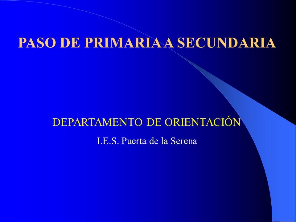 PASO DE PRIMARIA A SECUNDARIA