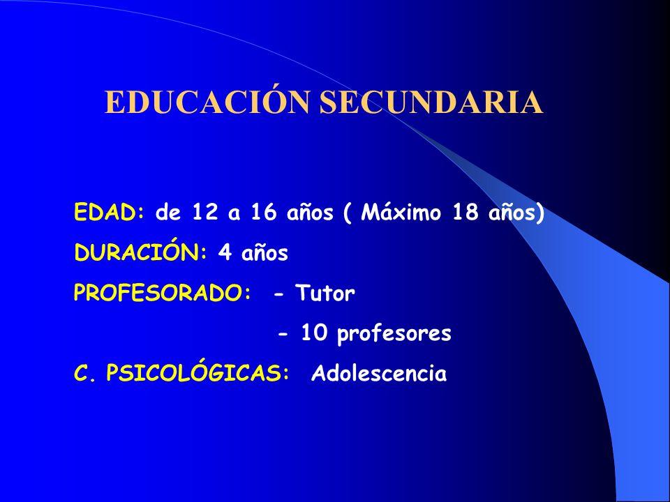 EDUCACIÓN SECUNDARIA EDAD: de 12 a 16 años ( Máximo 18 años)