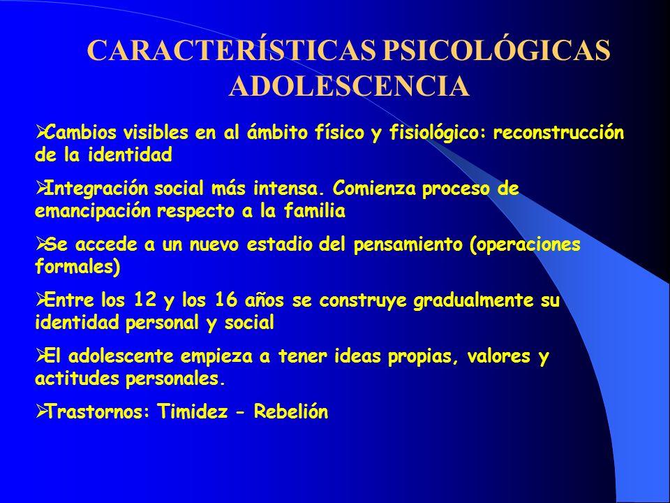 CARACTERÍSTICAS PSICOLÓGICAS ADOLESCENCIA