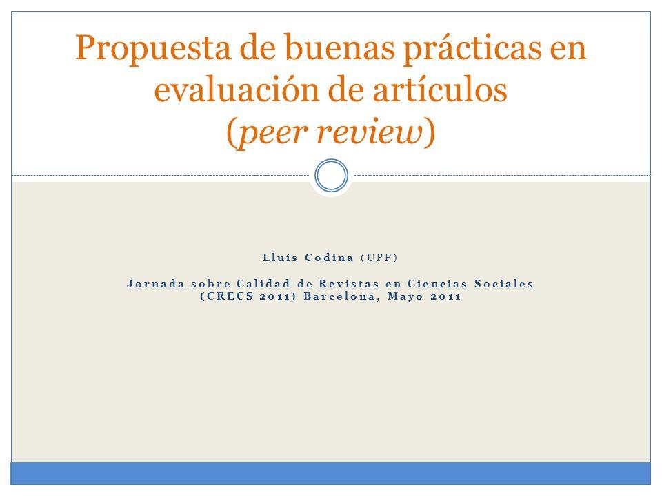 Propuesta de buenas prácticas en evaluación de artículos (peer review)