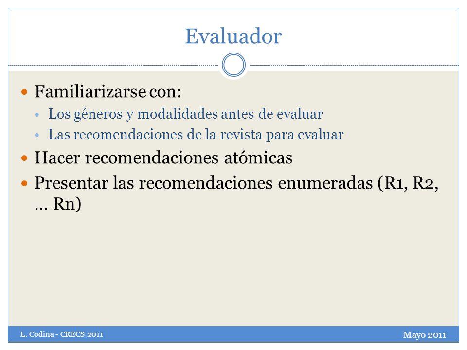 Evaluador Familiarizarse con: Hacer recomendaciones atómicas