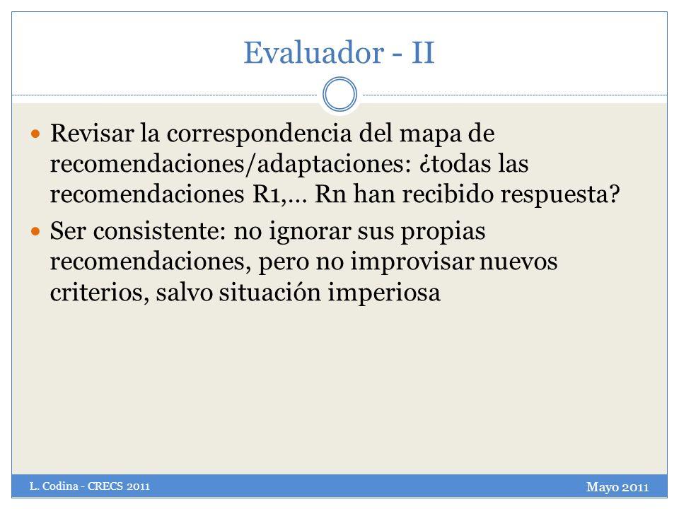 Evaluador - II Revisar la correspondencia del mapa de recomendaciones/adaptaciones: ¿todas las recomendaciones R1,… Rn han recibido respuesta