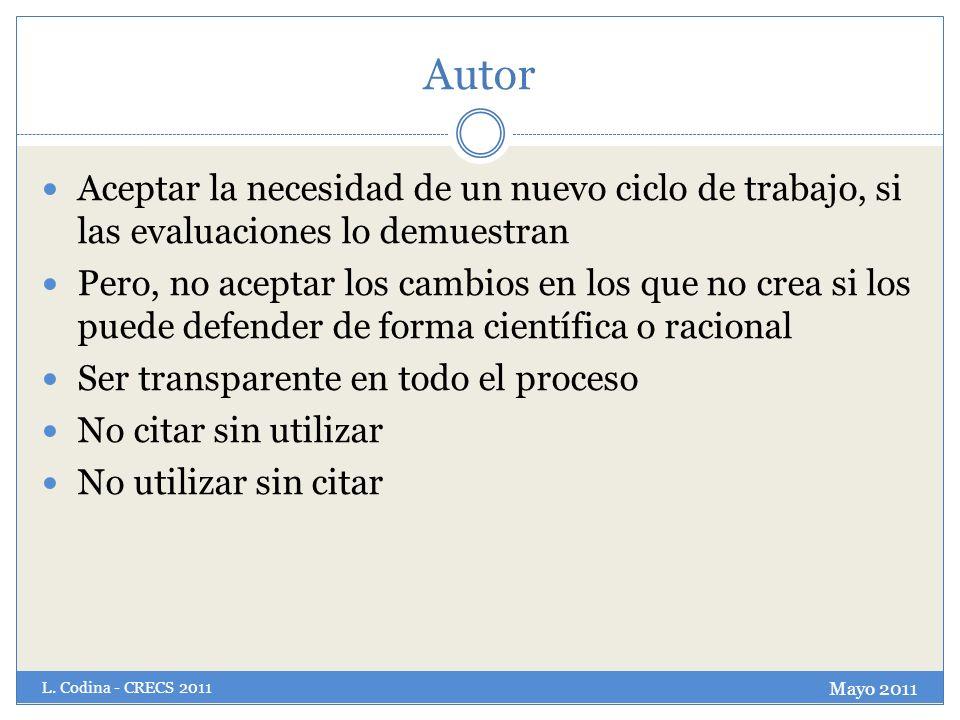 Autor Aceptar la necesidad de un nuevo ciclo de trabajo, si las evaluaciones lo demuestran.