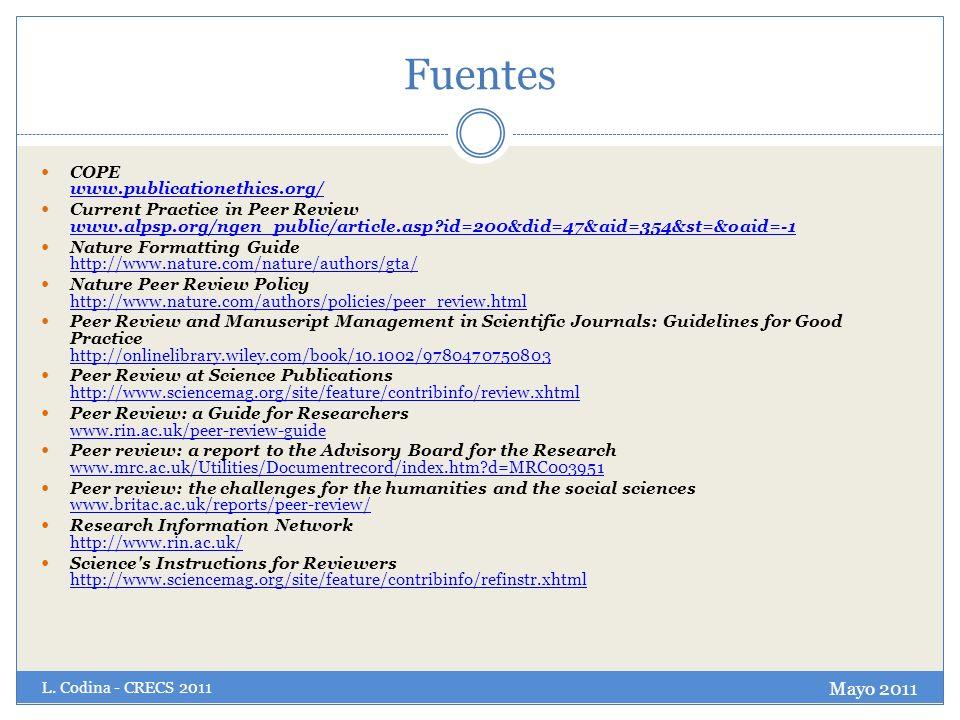 Fuentes Mayo 2011 COPE www.publicationethics.org/