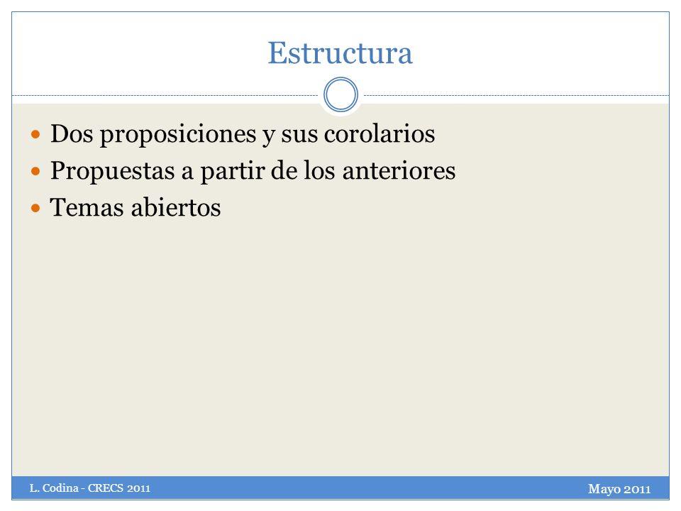 Estructura Dos proposiciones y sus corolarios