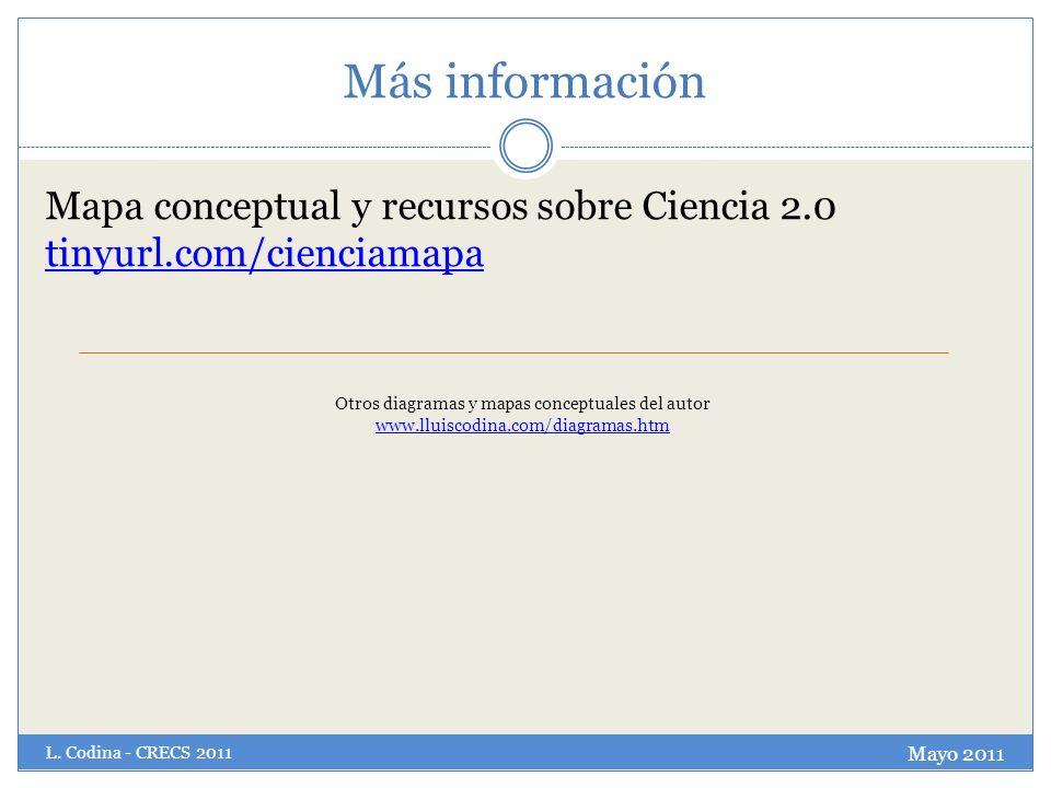 Más información Mapa conceptual y recursos sobre Ciencia 2.0 tinyurl.com/cienciamapa.