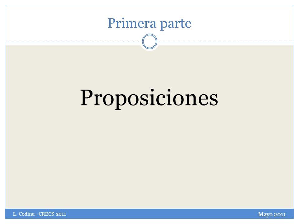 Primera parte Proposiciones L. Codina - CRECS 2011 Mayo 2011