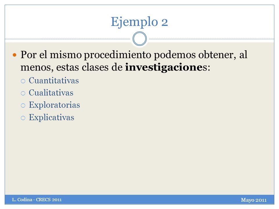 Ejemplo 2 Por el mismo procedimiento podemos obtener, al menos, estas clases de investigaciones: Cuantitativas.