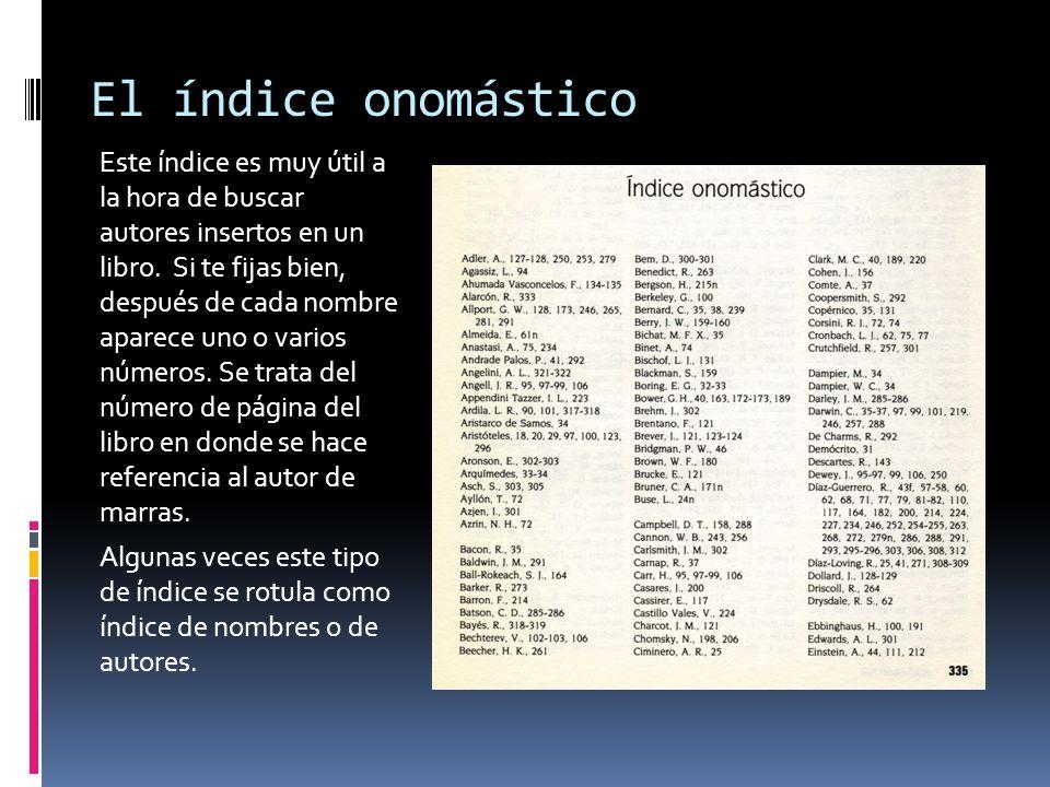 El índice onomástico