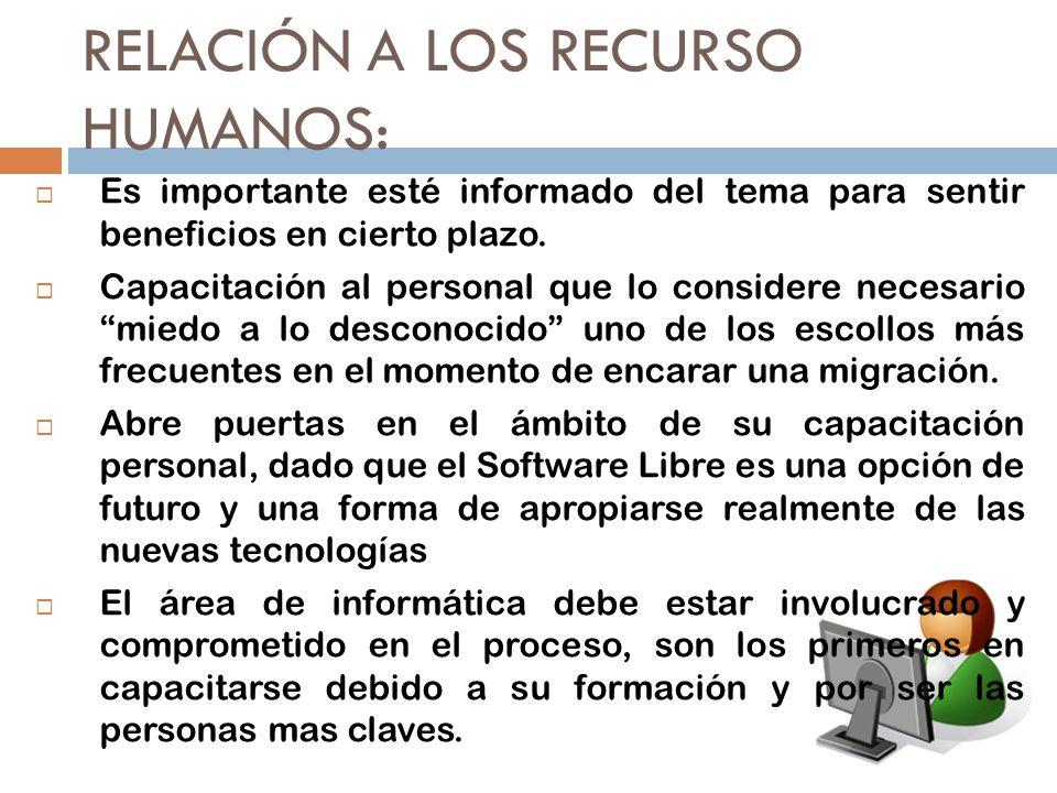 RELACIÓN A LOS RECURSO HUMANOS: