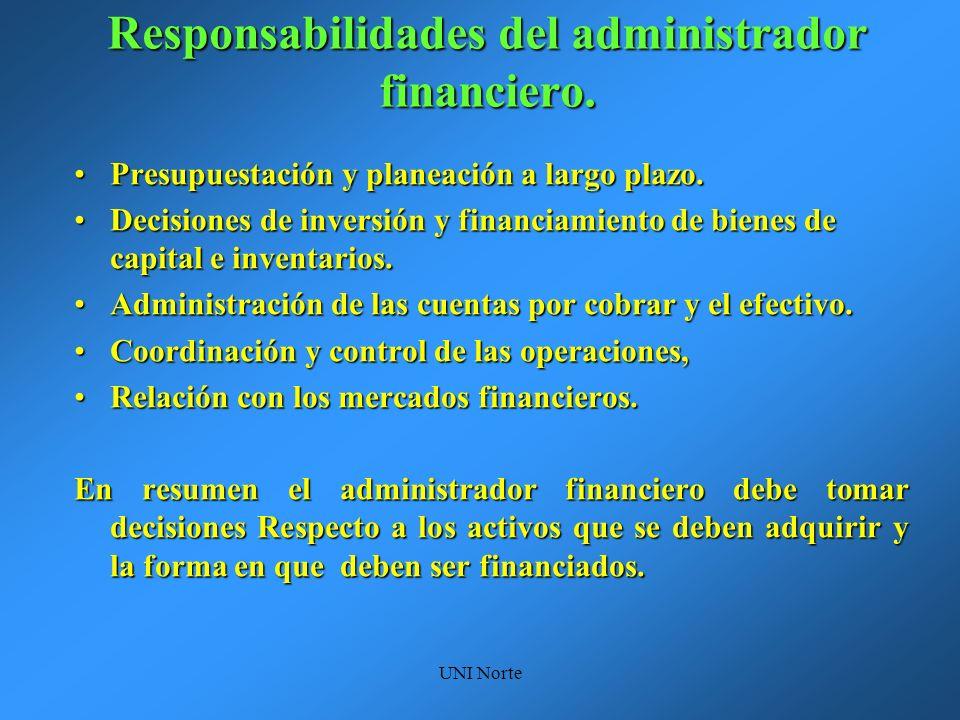 Responsabilidades del administrador financiero.