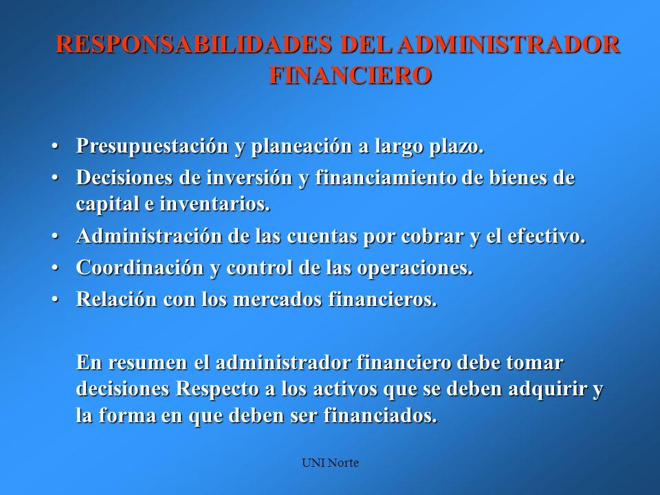 RESPONSABILIDADES DEL ADMINISTRADOR FINANCIERO