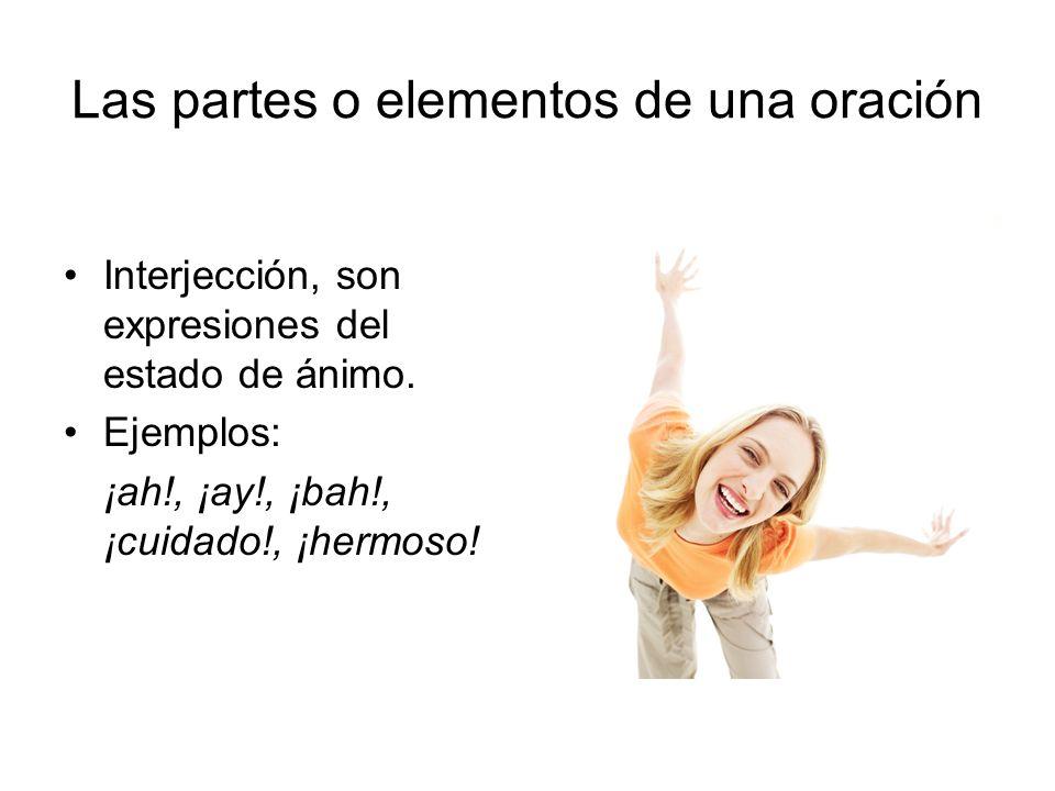Las partes o elementos de una oración