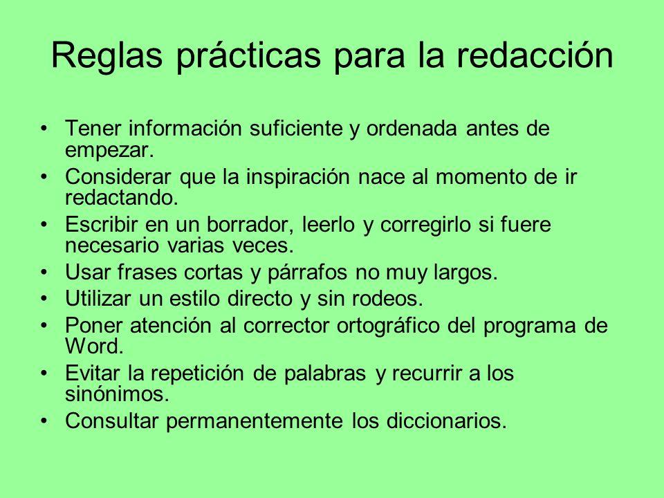 Reglas prácticas para la redacción