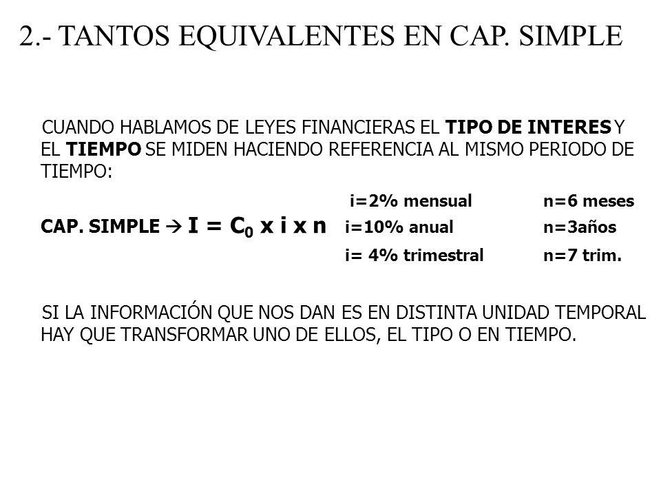 2.- TANTOS EQUIVALENTES EN CAP. SIMPLE