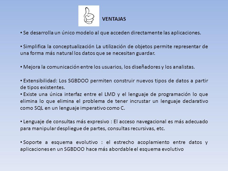 VENTAJAS Se desarrolla un único modelo al que acceden directamente las aplicaciones.