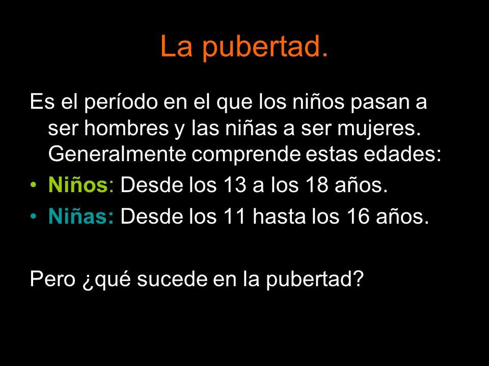 La pubertad.Es el período en el que los niños pasan a ser hombres y las niñas a ser mujeres. Generalmente comprende estas edades: