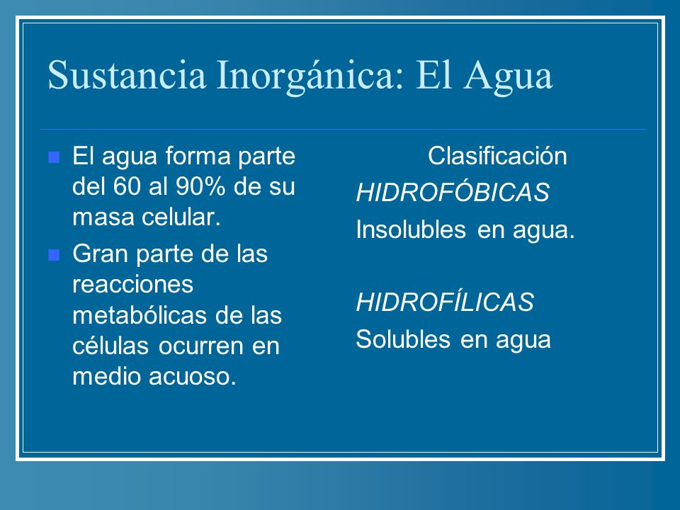Sustancia Inorgánica: El Agua