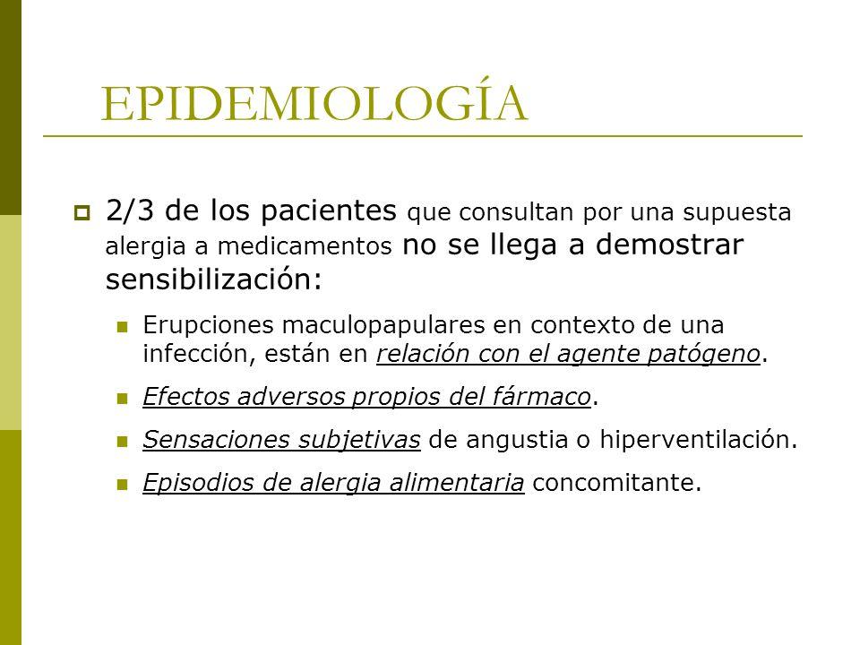 EPIDEMIOLOGÍA2/3 de los pacientes que consultan por una supuesta alergia a medicamentos no se llega a demostrar sensibilización: