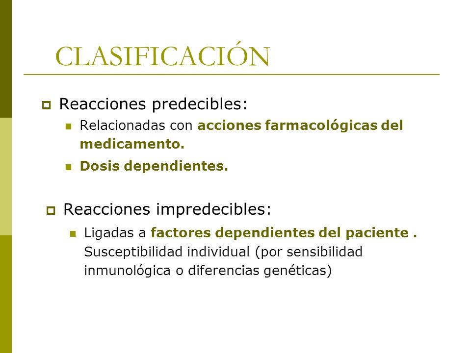 CLASIFICACIÓN Reacciones predecibles: Reacciones impredecibles: