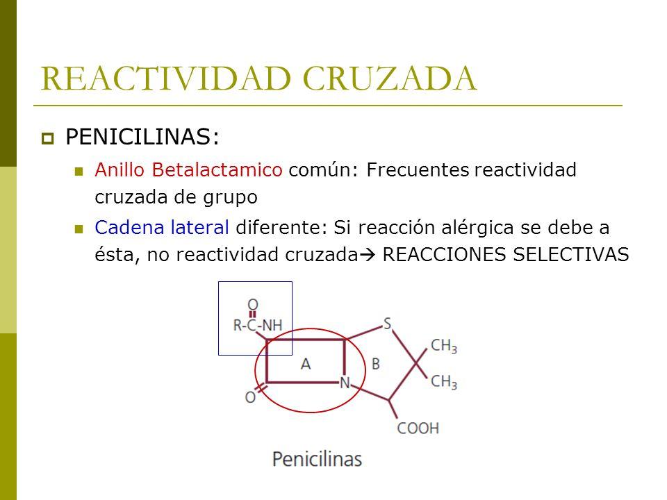 REACTIVIDAD CRUZADA PENICILINAS: