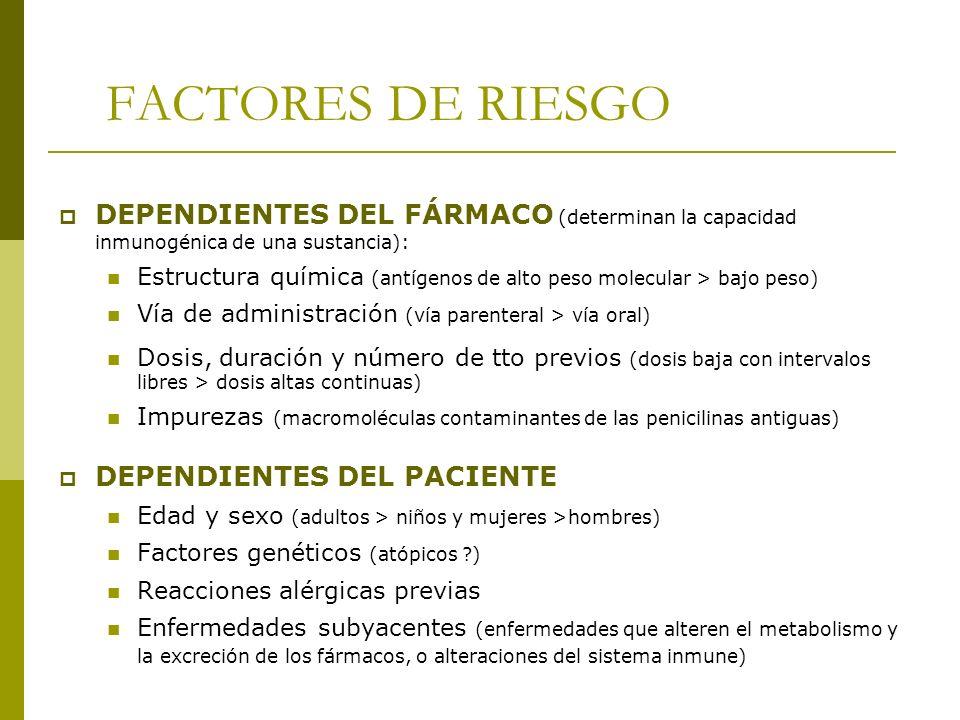 FACTORES DE RIESGO DEPENDIENTES DEL FÁRMACO (determinan la capacidad inmunogénica de una sustancia):