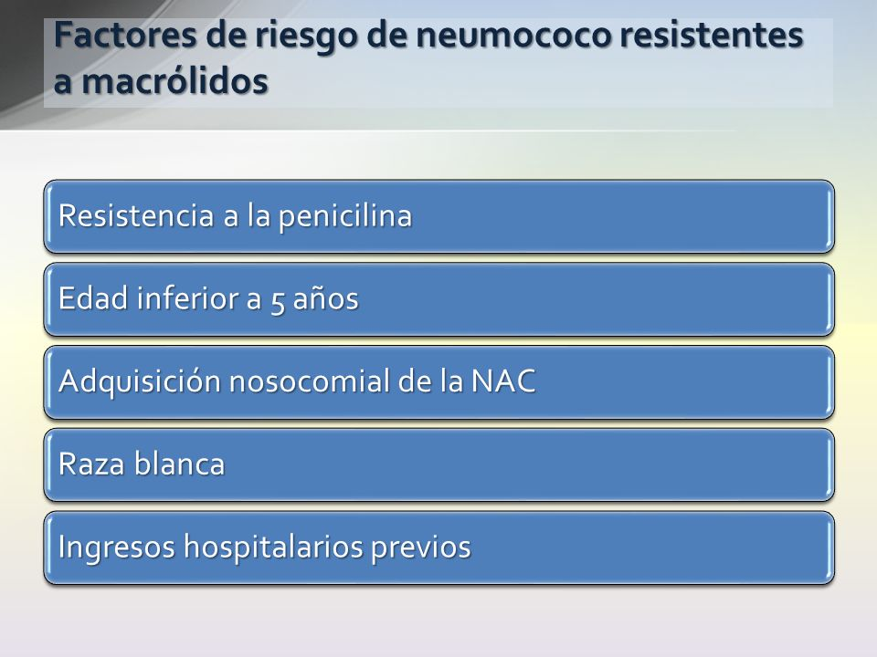 Factores de riesgo de neumococo resistentes a macrólidos