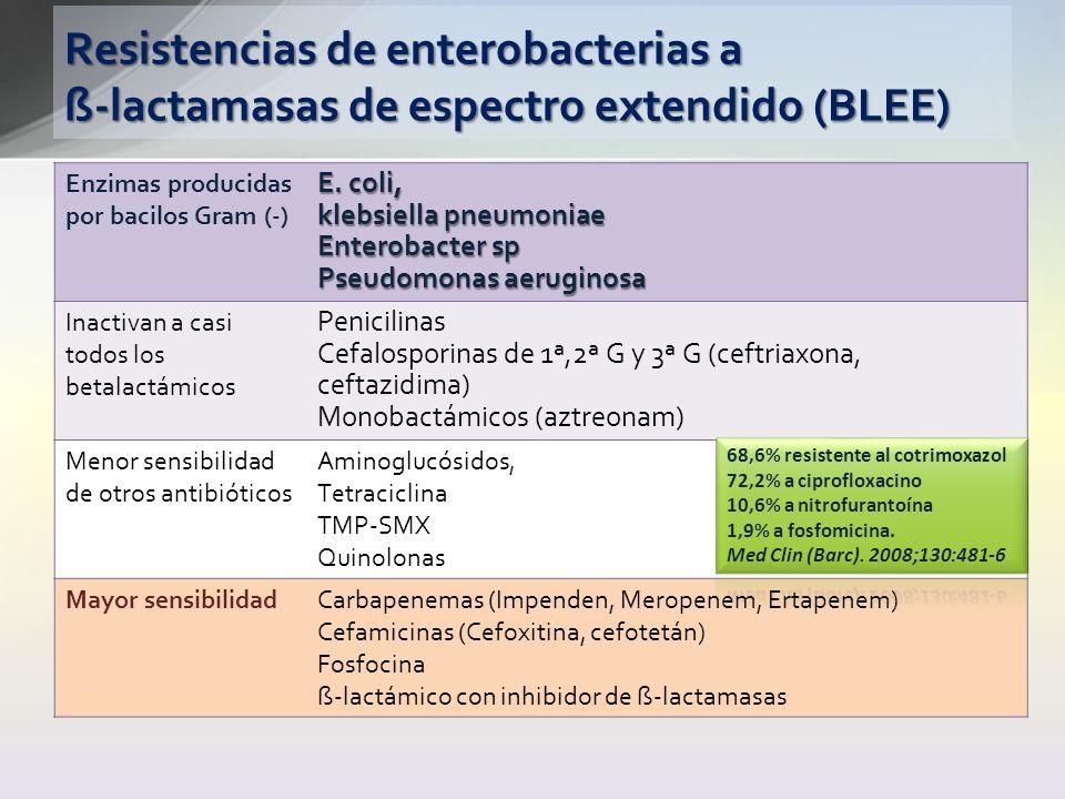 Resistencias de enterobacterias a ß-lactamasas de espectro extendido (BLEE)
