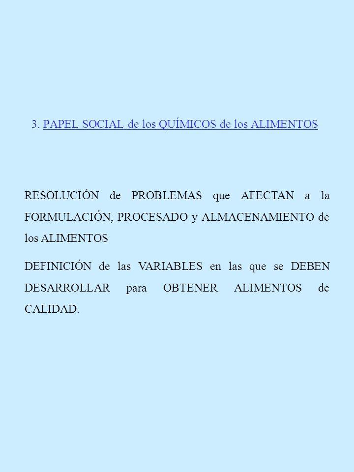 3. PAPEL SOCIAL de los QUÍMICOS de los ALIMENTOS