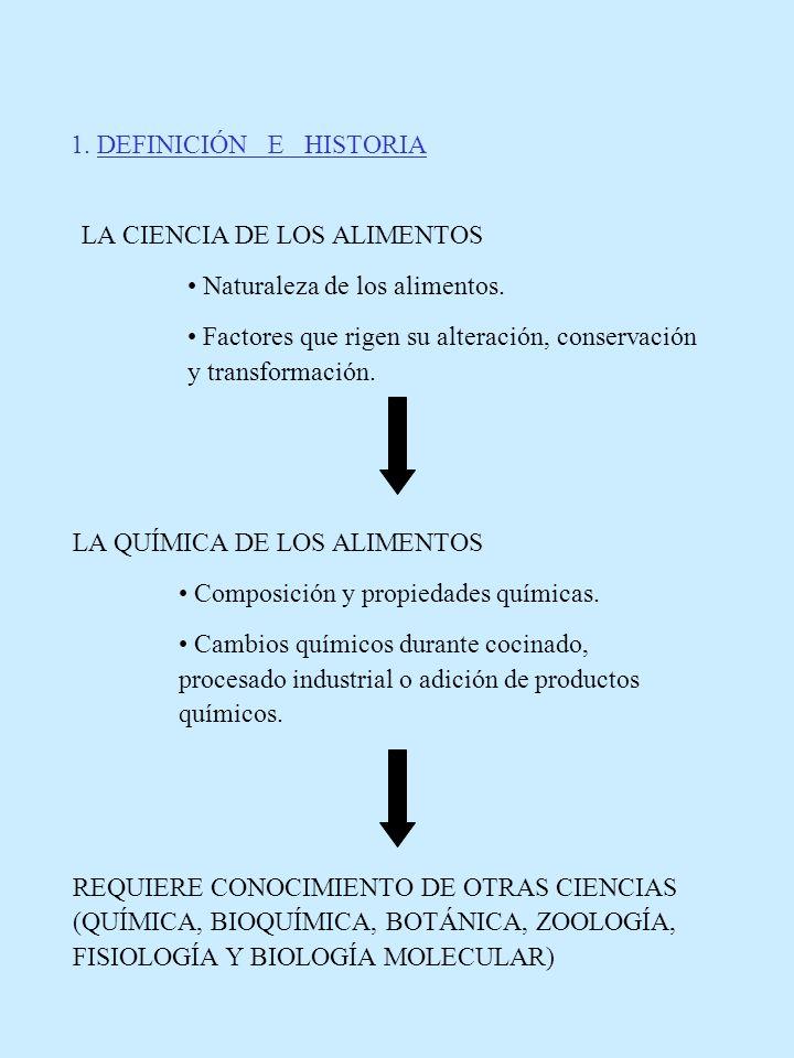 1. DEFINICIÓN E HISTORIA LA CIENCIA DE LOS ALIMENTOS. • Naturaleza de los alimentos.