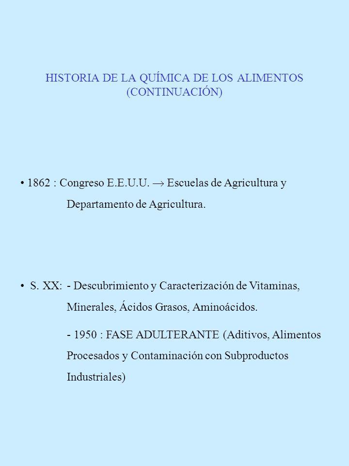 HISTORIA DE LA QUÍMICA DE LOS ALIMENTOS (CONTINUACIÓN)