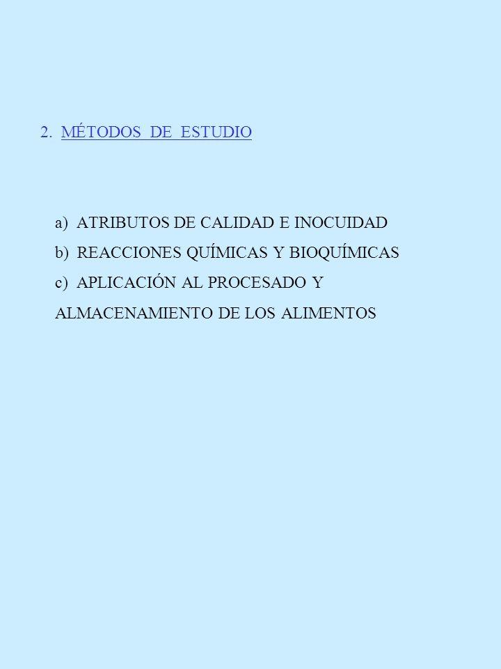 2. MÉTODOS DE ESTUDIO. a) ATRIBUTOS DE CALIDAD E INOCUIDAD