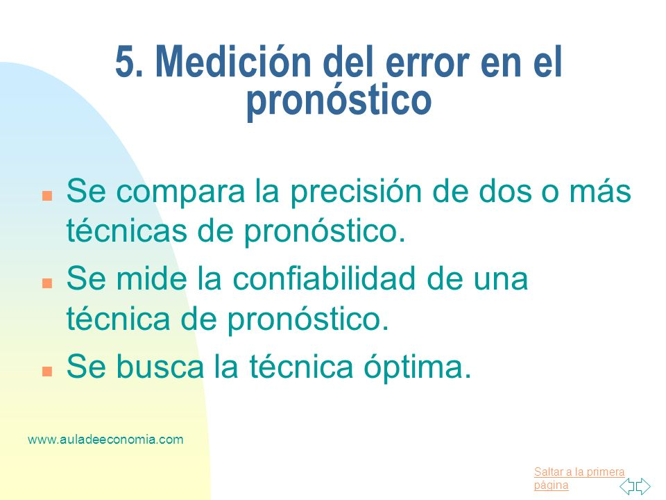 5. Medición del error en el pronóstico