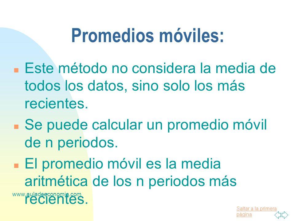 Promedios móviles:Este método no considera la media de todos los datos, sino solo los más recientes.