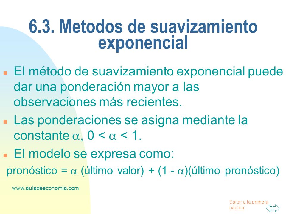6.3. Metodos de suavizamiento exponencial