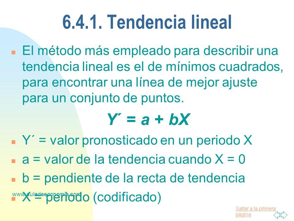 6.4.1. Tendencia lineal Y´ = a + bX