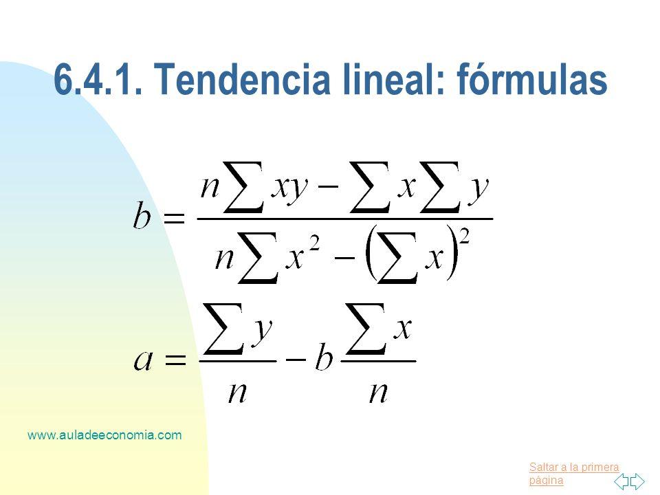 6.4.1. Tendencia lineal: fórmulas