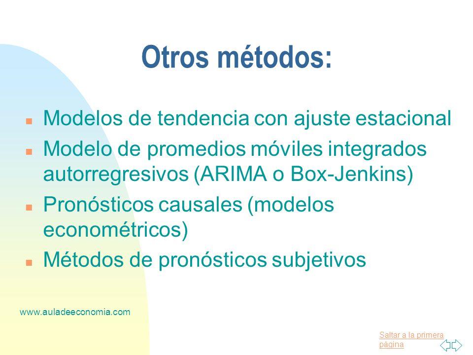 Otros métodos: Modelos de tendencia con ajuste estacional