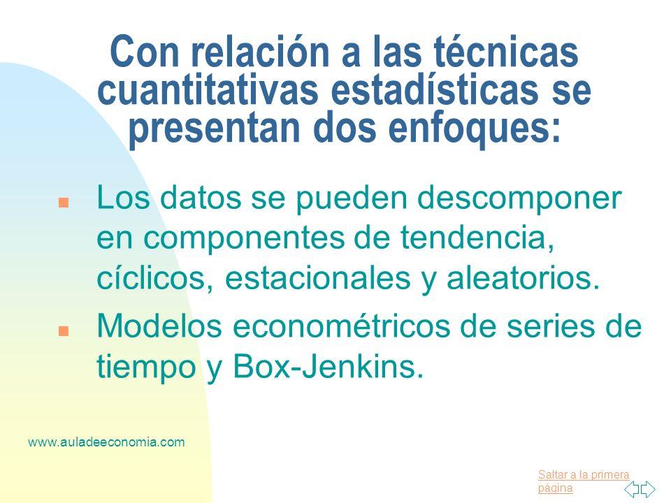 Con relación a las técnicas cuantitativas estadísticas se presentan dos enfoques: