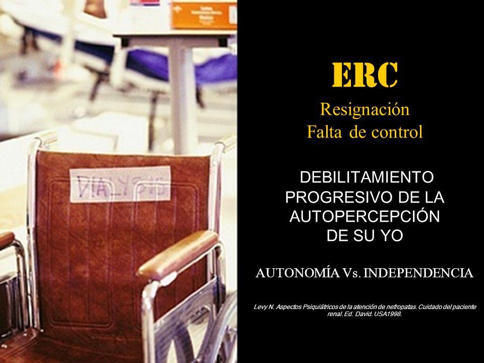 ERC Resignación Falta de control DEBILITAMIENTO PROGRESIVO DE LA AUTOPERCEPCIÓN DE SU YO AUTONOMÍA Vs.